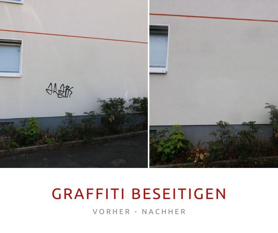 Bild: Graffiti beseitigen - Vorher-Nachher